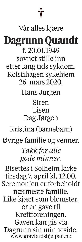 Dagrun Quandt Dødsannonse