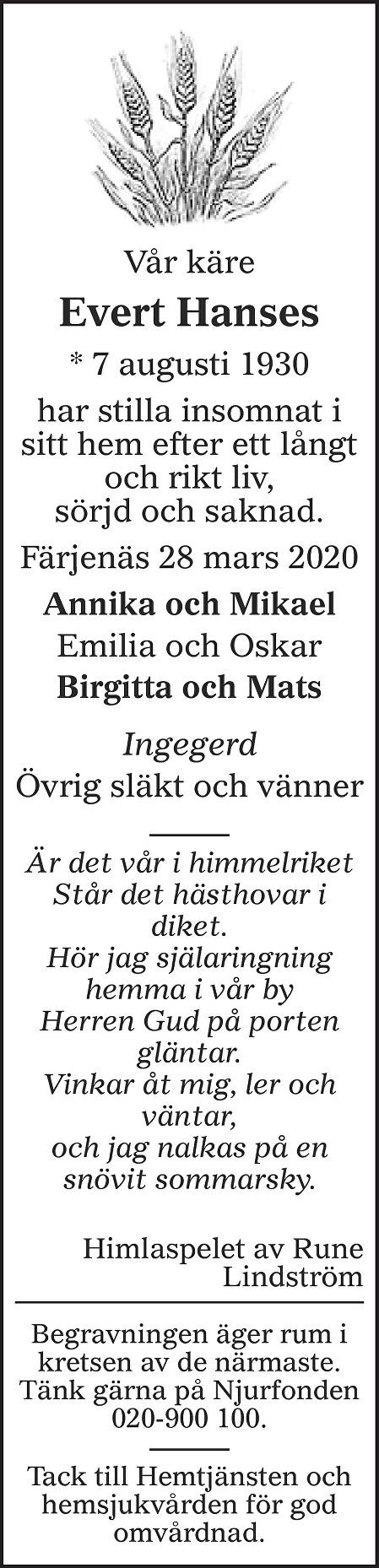 Evert Hanses Death notice