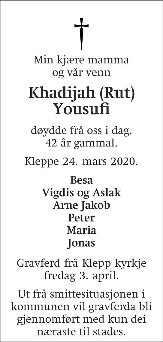 Khadijah Yousufi Dødsannonse