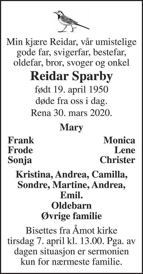 Reidar Sparby Dødsannonse