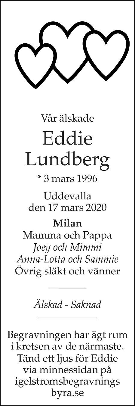 Eddie Lundberg Death notice