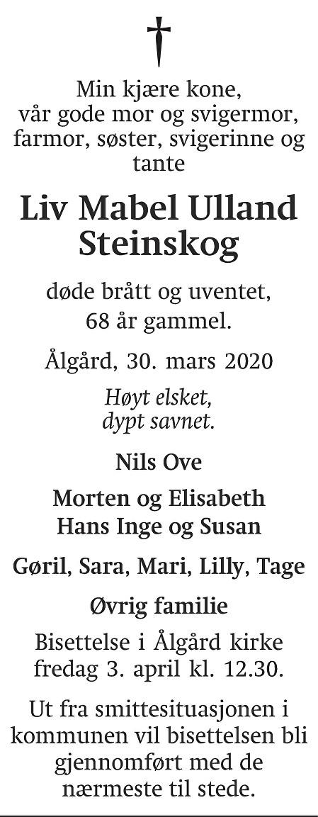 Liv Mabel Ulland Steinskog Dødsannonse