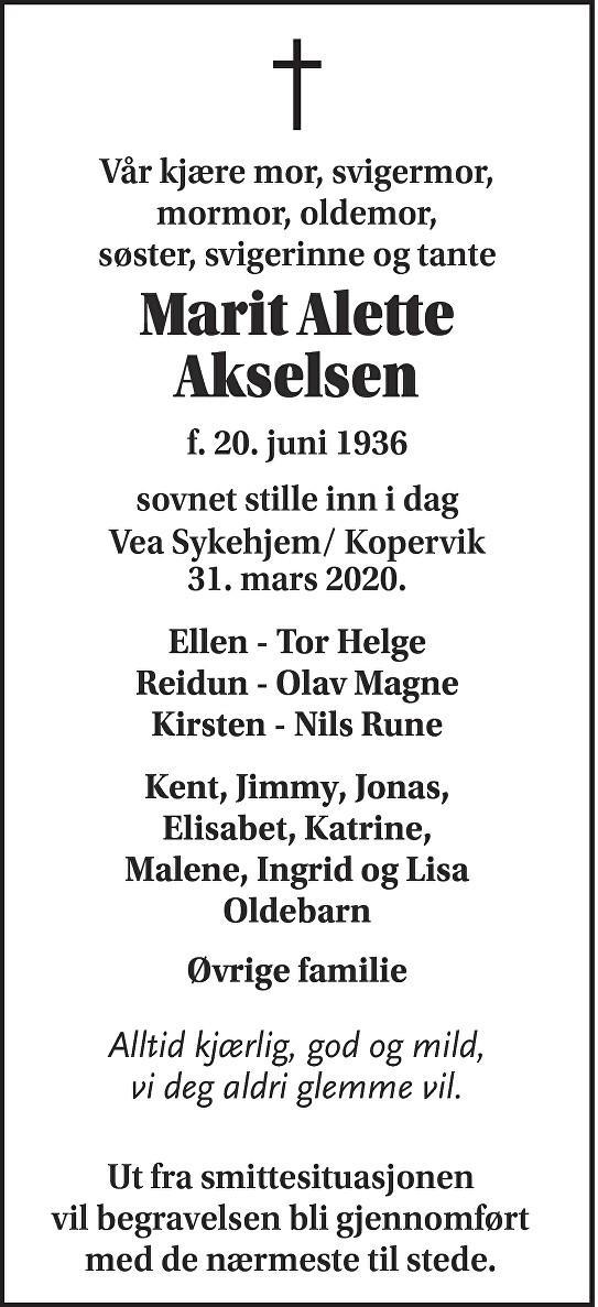 Marit Alette Akselsen Dødsannonse