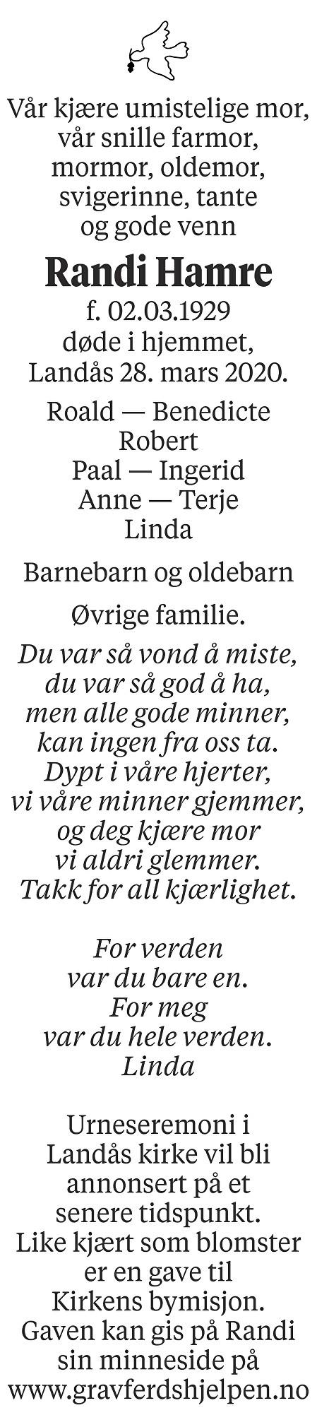 Randi Mathilde Hamre Dødsannonse