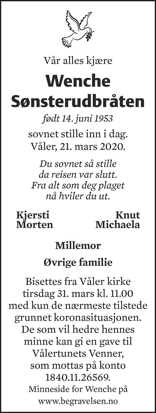 Wenche Elisabeth Sønsterudbråten Dødsannonse