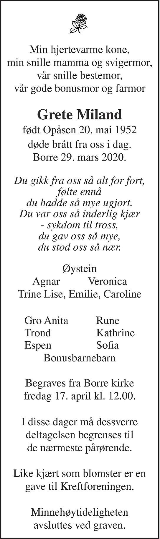 Grete Miland Dødsannonse
