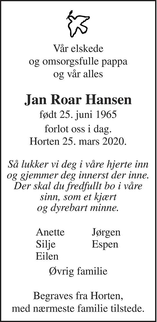 Jan Roar Hansen Dødsannonse