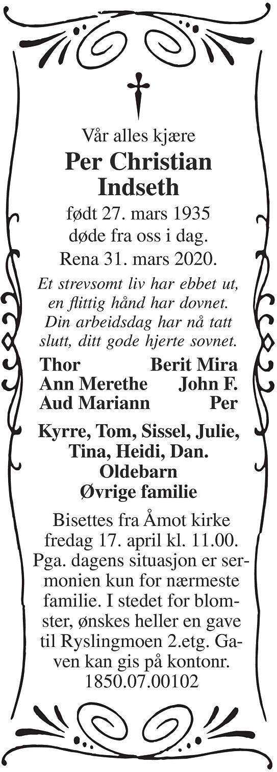 Per Christian Indseth Dødsannonse