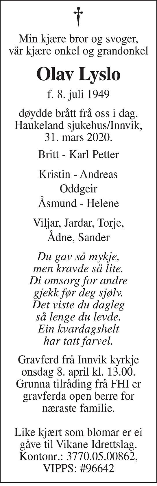 Olav Lyslo Dødsannonse