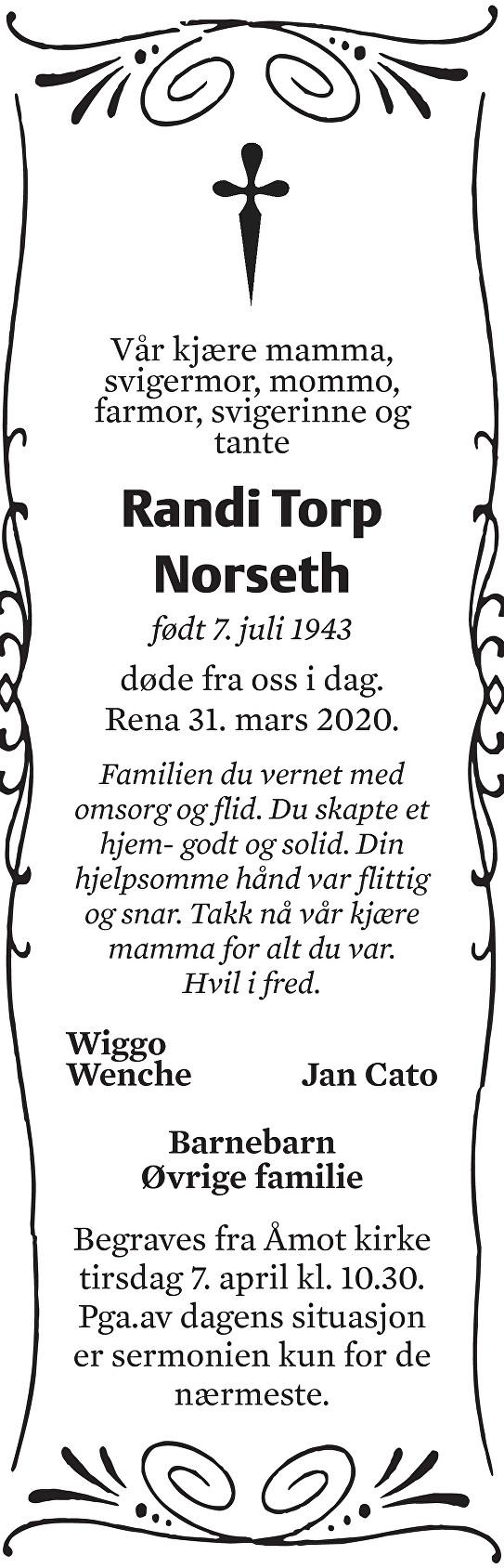 Randi Torp Norseth Dødsannonse