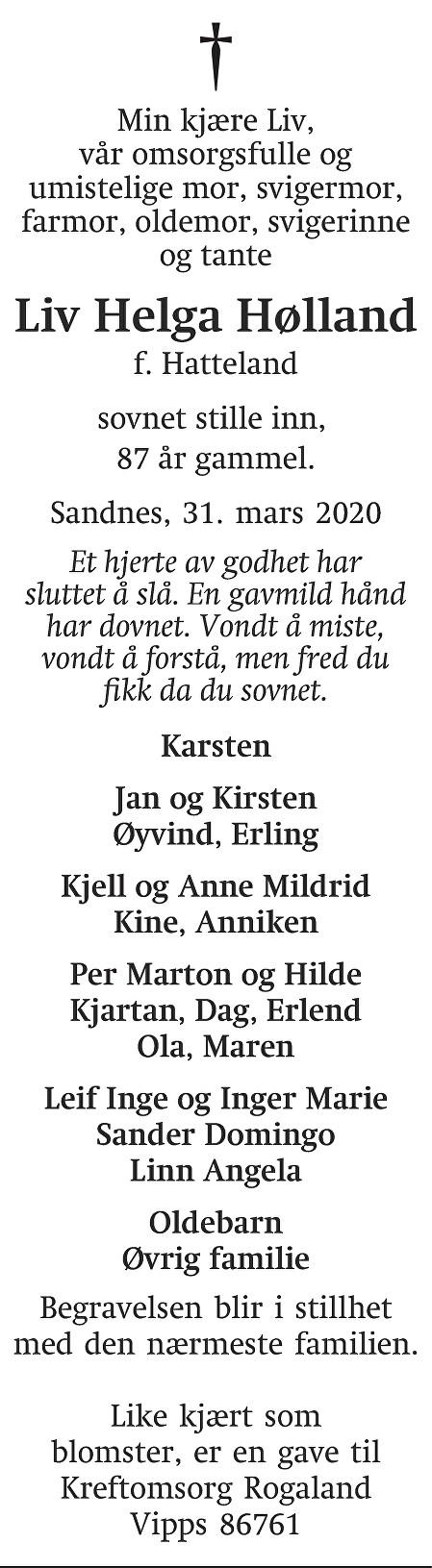 Liv Helga Hølland Dødsannonse