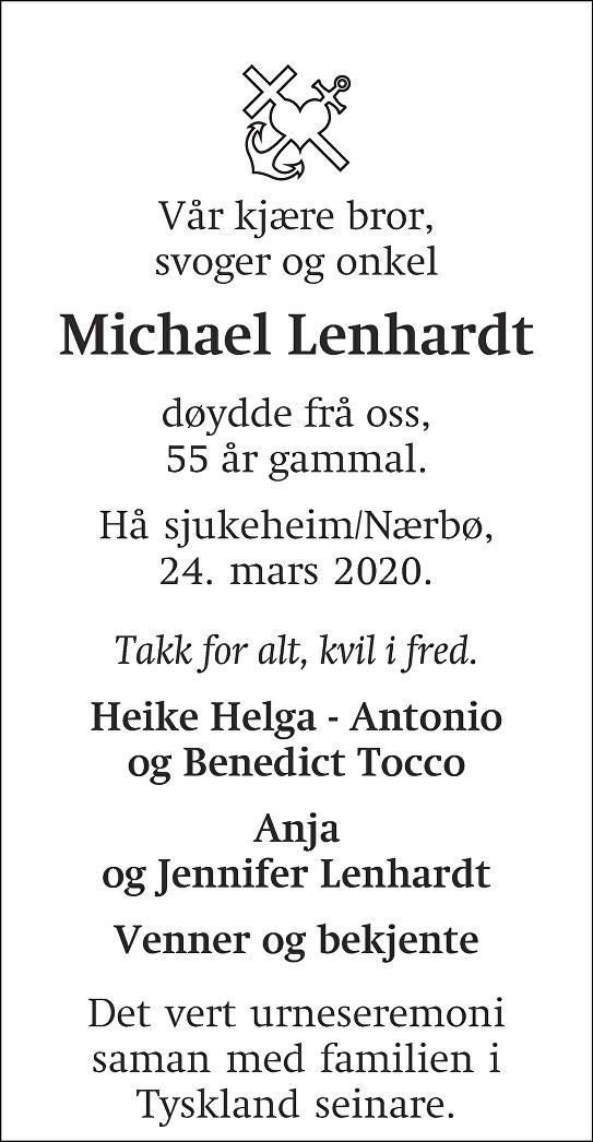 Michael Lenhardt Dødsannonse