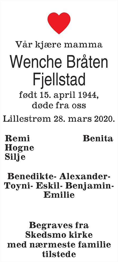 Wenche Bråten Fjellstad Dødsannonse