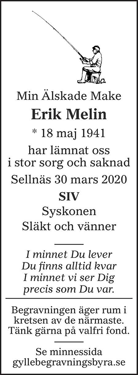 Erik Melin Death notice