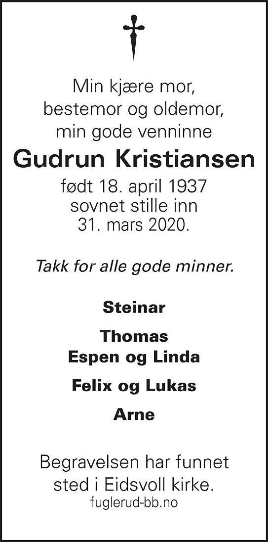Gudrun Kristiansen Dødsannonse