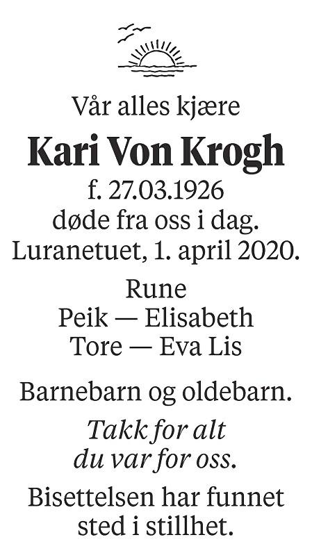 Kari Von Krogh Dødsannonse