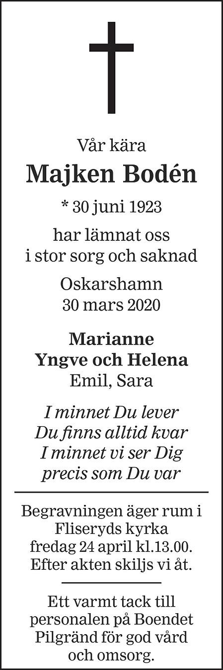 Majken Bodén Death notice