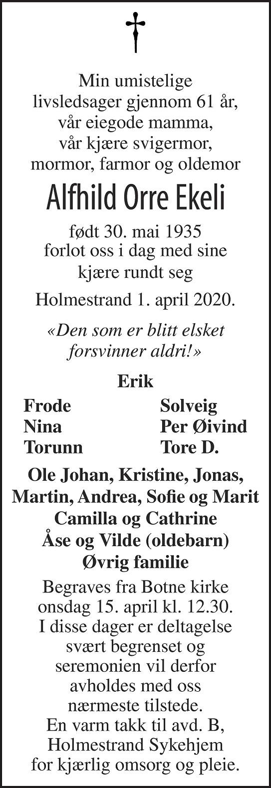 Alfhild Orre Ekeli Dødsannonse