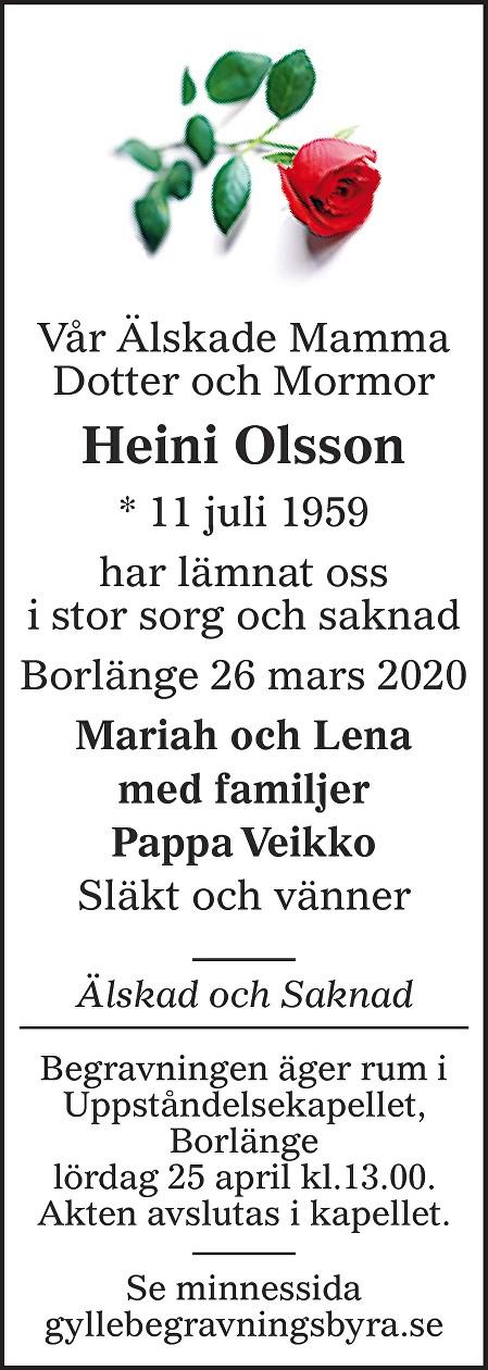 Heini Olsson Death notice