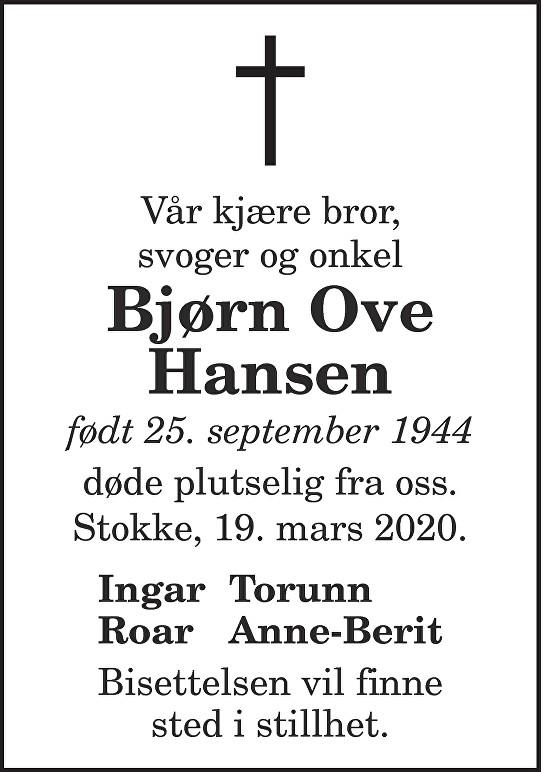Bjørn Ove Hansen Dødsannonse