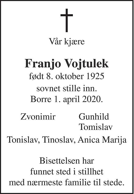 Franjo Vojtulek Dødsannonse