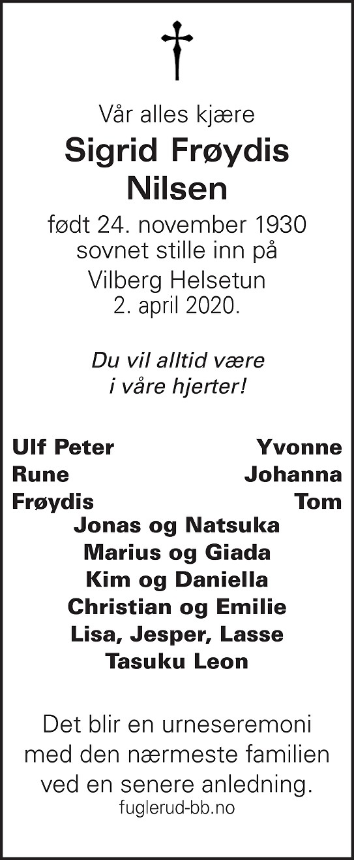 Sigrid Frøydis Nilsen Dødsannonse