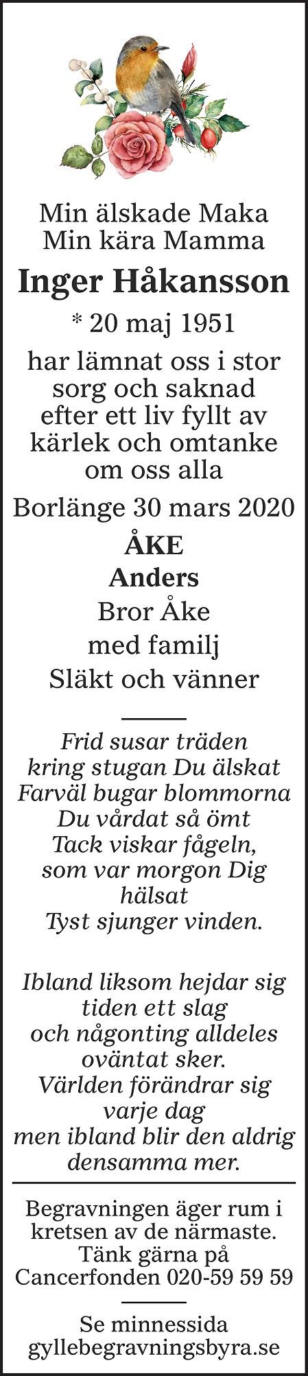 Inger Håkansson Death notice