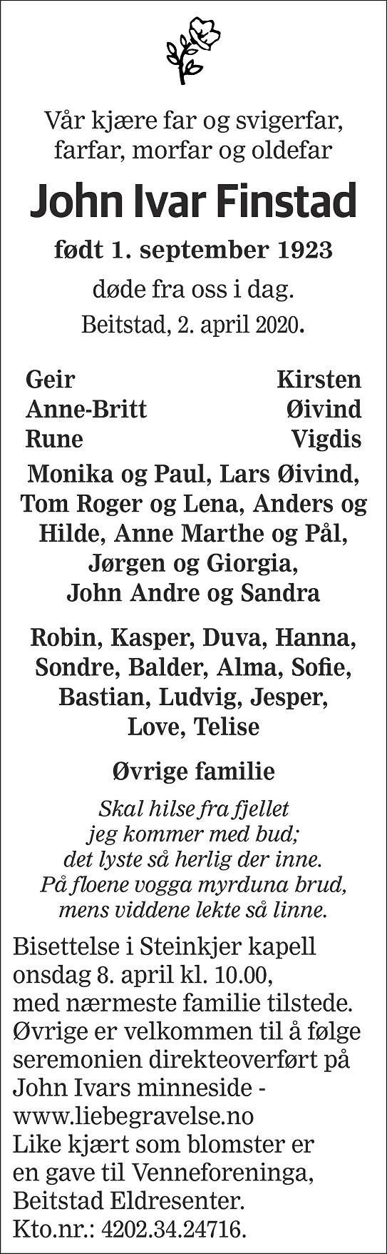 John Ivar Finstad Dødsannonse