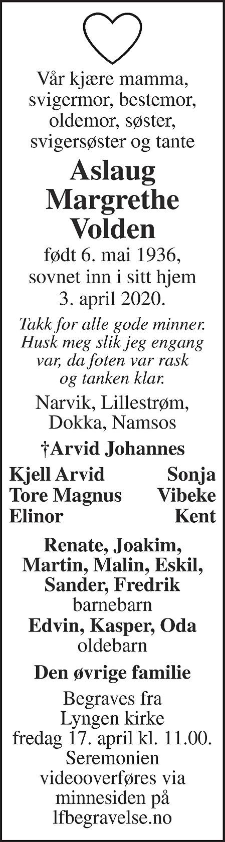 Aslaug Margrethe Volden Dødsannonse