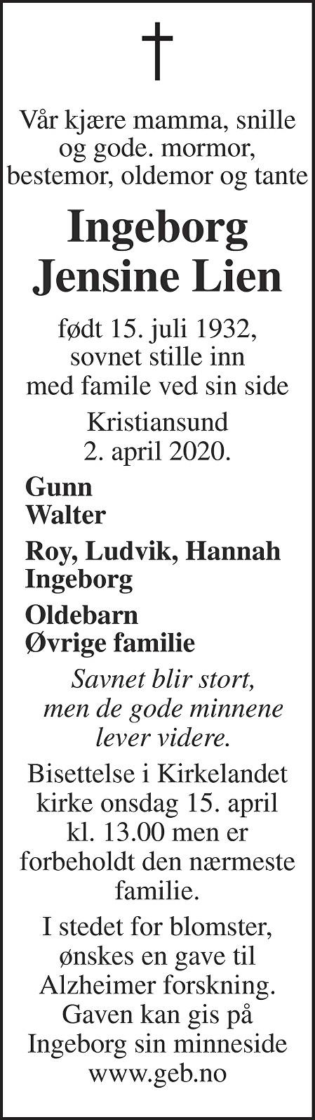Ingeborg Jensine Lien Dødsannonse