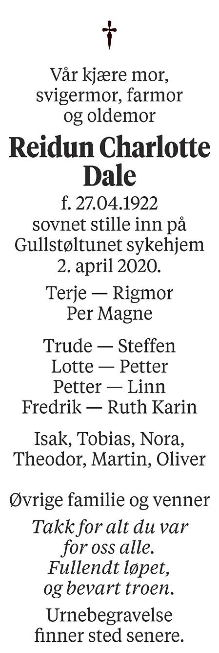 Reidun Charlotte Dale Dødsannonse