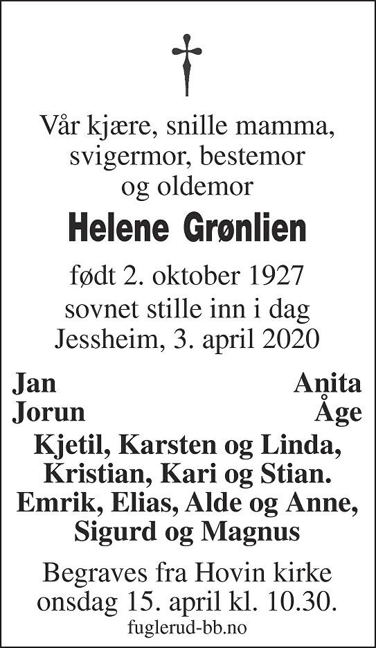 Helene Grønlien Dødsannonse