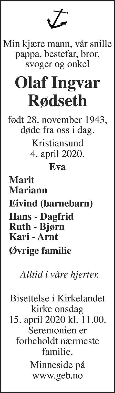 Olaf Ingvar Rødseth Dødsannonse