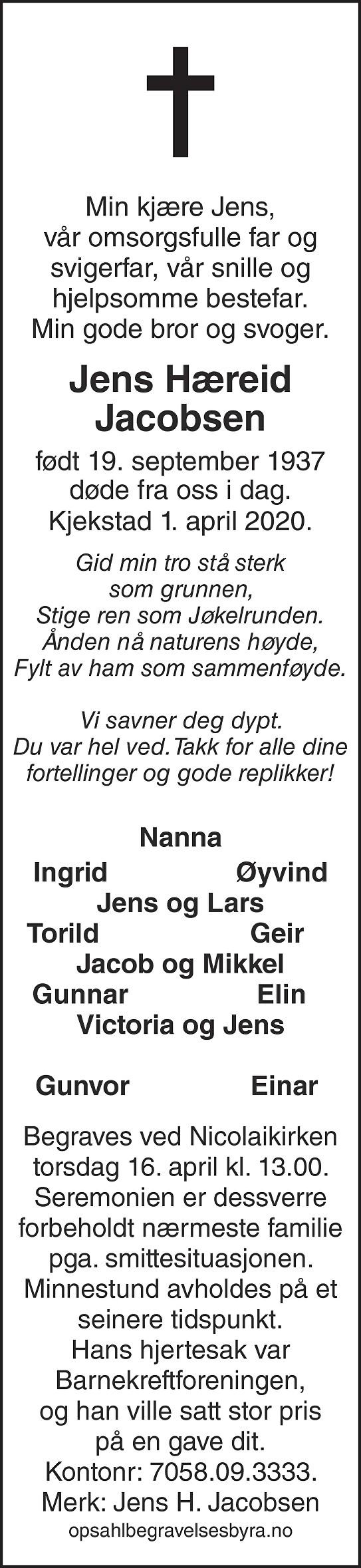 Jens Hæreid Jacobsen Dødsannonse