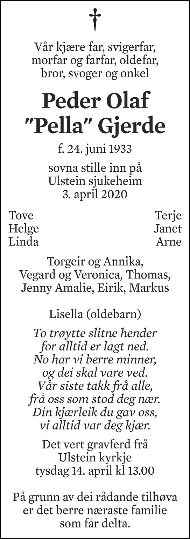 Peder Olaf Gjerde Dødsannonse