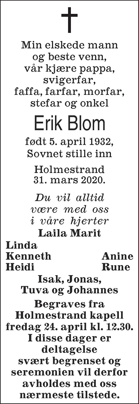 Erik Blom Dødsannonse