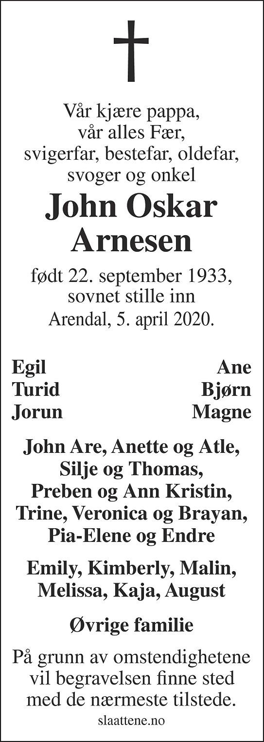 John Oskar Arnesen Dødsannonse