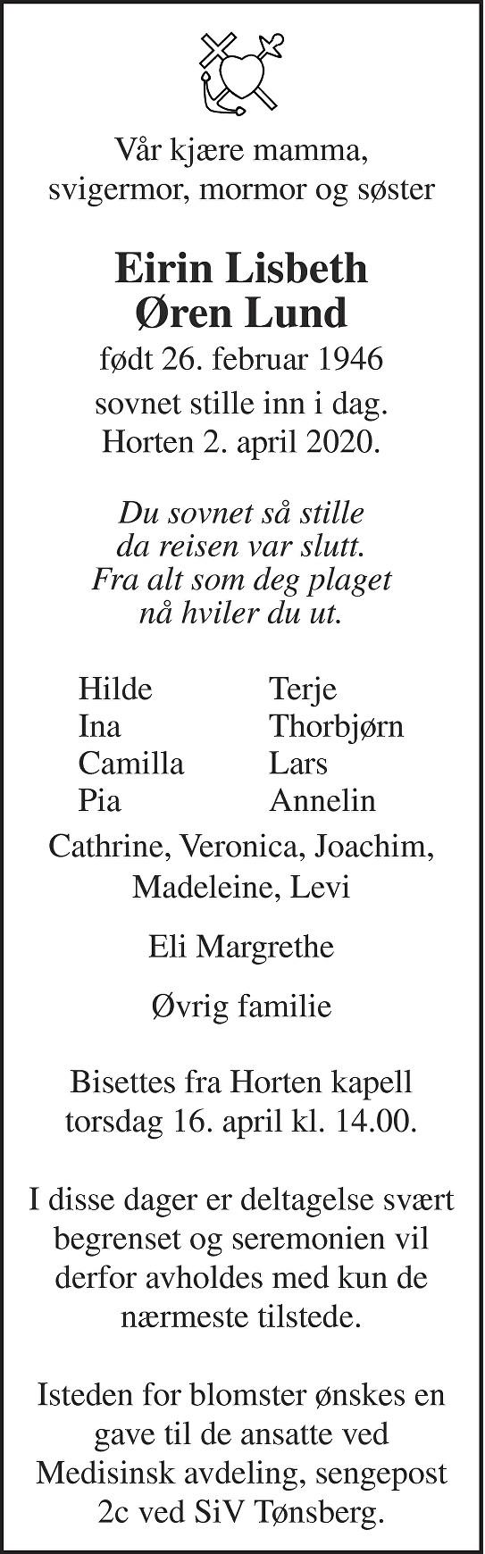 Eirin Lisbeth Øren Lund Dødsannonse