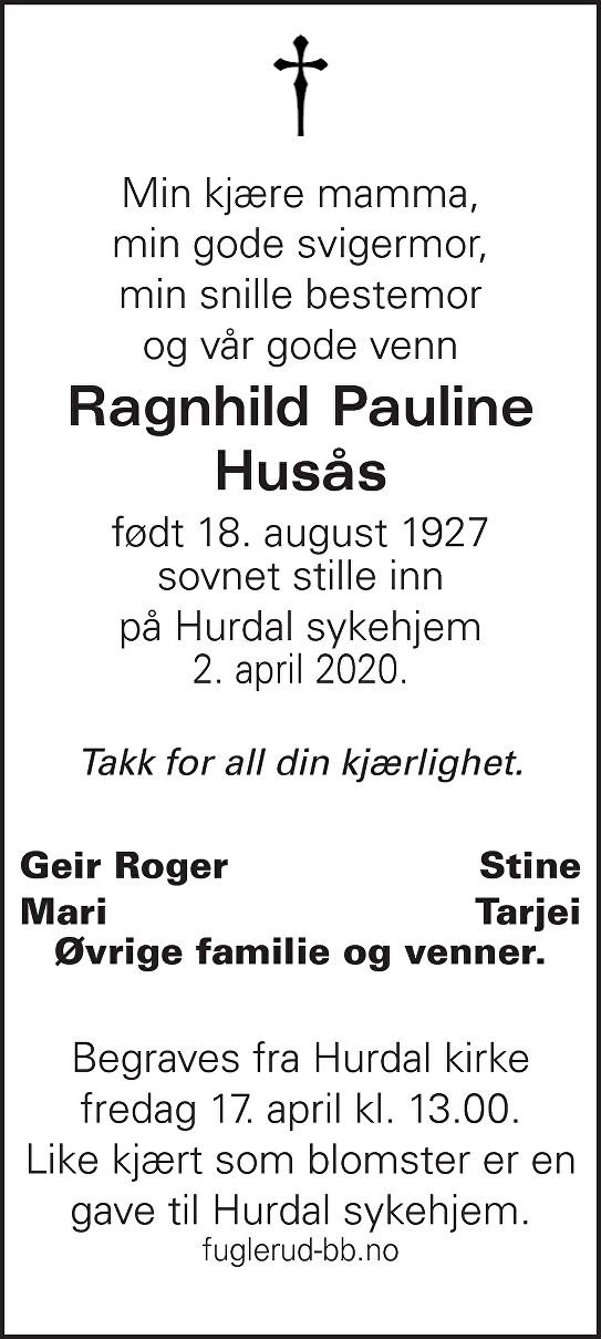 Ragnhild Husås Dødsannonse