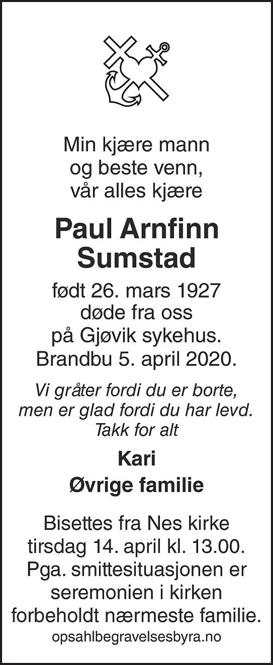 Paul Arnfinn Sumstad Dødsannonse