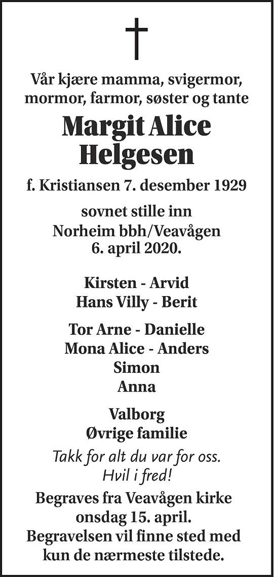 Margit Alice  Helgesen Dødsannonse