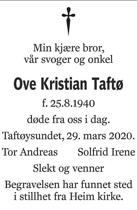Ove Kristian Taftø Dødsannonse
