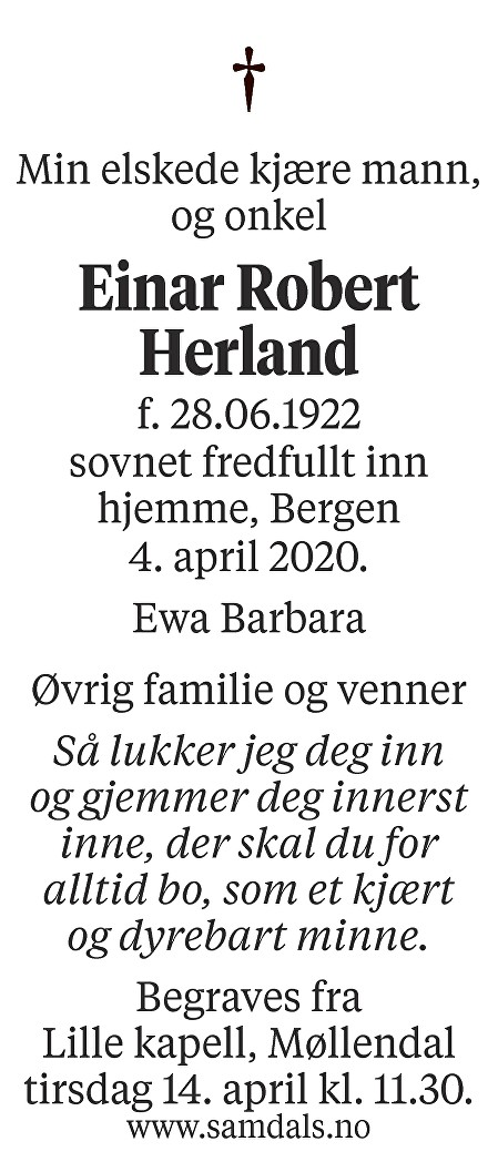 Einar Robert Herland Dødsannonse