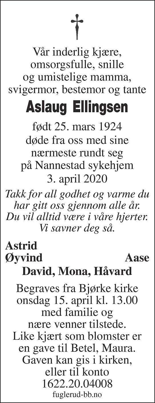 Dagmar Aslaug Ellingsen Dødsannonse