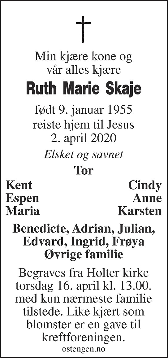 Ruth Marie Skaje Dødsannonse