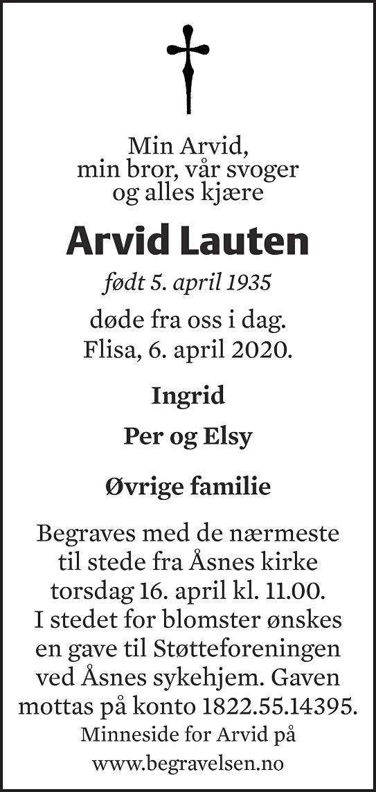 Arvid Lauten Dødsannonse