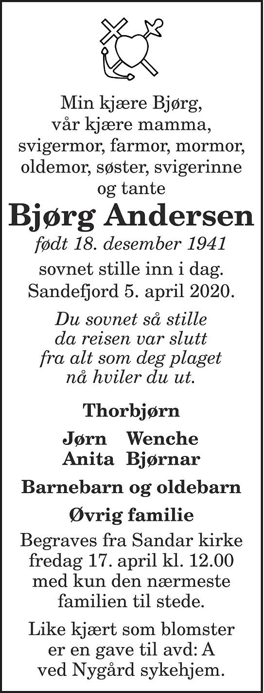 Bjørg Andersen Dødsannonse