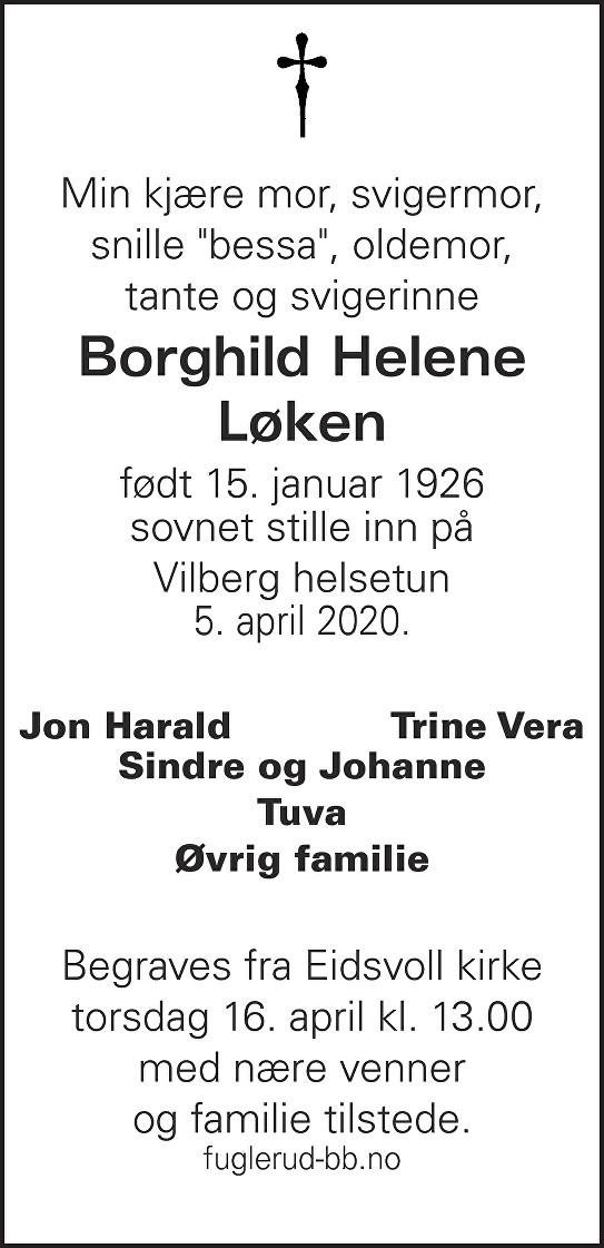 Borghild Helene Løken Dødsannonse
