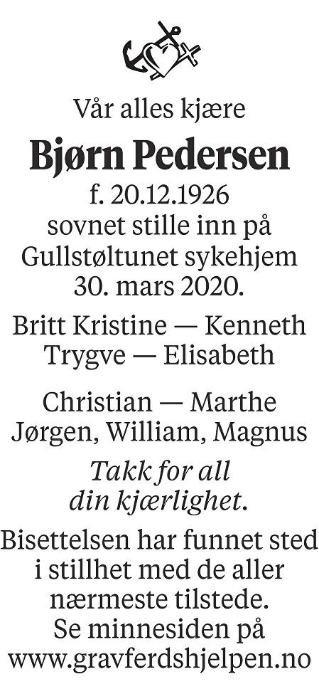 Bjørn Pedersen Dødsannonse