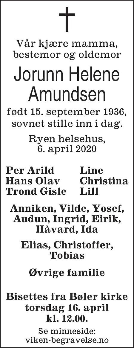 Jorunn Helene Amundsen Dødsannonse